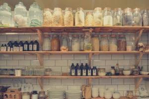 bottles, display, shelf